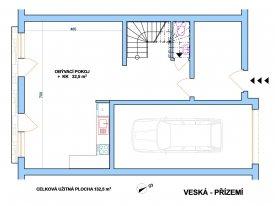 Nový řadový dům 4+kk - Sezemice - Veská